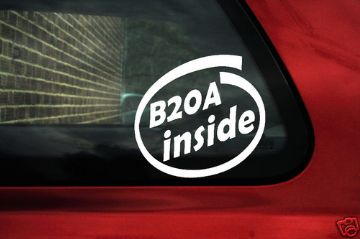 B20A inside sticker. For DOHC Honda Accord, Prelude